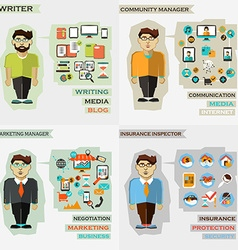 Set of professions Writer community manager vector