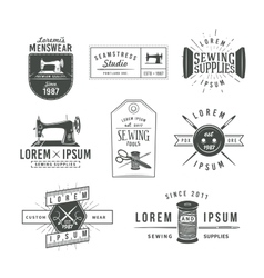 set vintage tailor labels emblems and design vector image