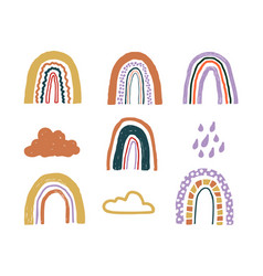 set with childish hand drawn rainbows clouds and vector image