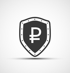 Shield with a shield and a sign ruble vector
