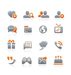 Social communications icons - graphite series vector