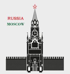 Spasskaya tower moscow kremlin in black vector