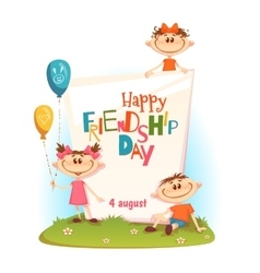 Stand with friendship day title children vector
