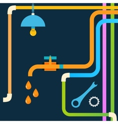 Stock plumbing concept design eps vector