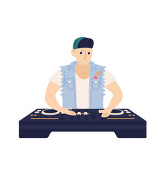 Stylish male dj with confused face expression vector