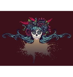 Sugar Skull Girl in Flower Crown12 vector image