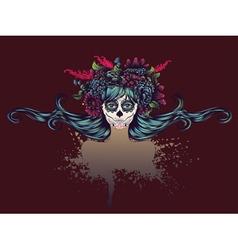 Sugar Skull Girl in Flower Crown12 vector
