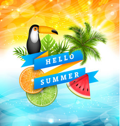summer poster design with parrot toucan slices of vector image