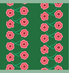 tangled pink flowers rows seamless pattern vector image