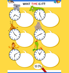 Telling time educational task with animals vector