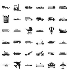 Transport with driver icons set simple style vector