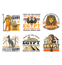Travel to egypt icons egyptian gods and sights vector