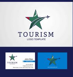 Travel turkmenistan flag creative star logo vector