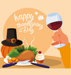 turkey dinner dinnes with pumpkin and set icons vector image