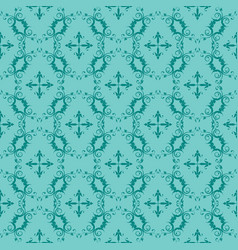 Turquoise and teal ornamental swirl background vector