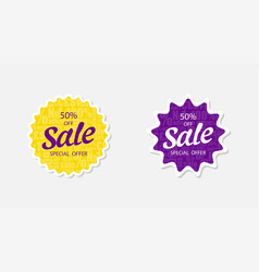 two sticker sale 50 off special offer sale vector image