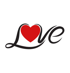 typography love text vector image