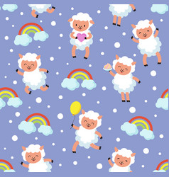 White lamb small sheep baby sweet dream vector