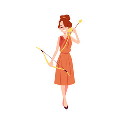 woman or artemis greek goddess stands holding bow vector image