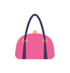Women pink leather handbag back handle and clips vector