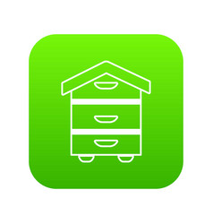 wood beehive icon green vector image
