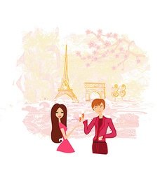 Young couple flirt and drink champagne in Paris vector image