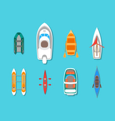cartoon color boats icons set top view vector image vector image