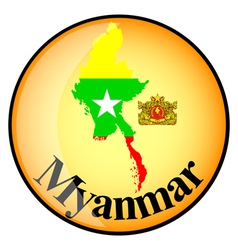 orange button with the image maps of Myanmar vector image vector image