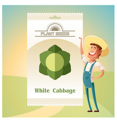 pack of white cabbage seeds vector image vector image