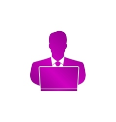 People with computer person with laptop icon vector