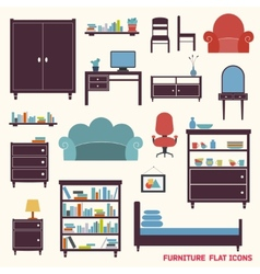 Furniture icons flat vector image