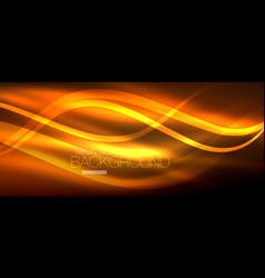 Neon orange elegant smooth wave lines digital vector
