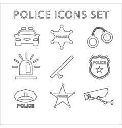 Police outline icons set Linear vector image