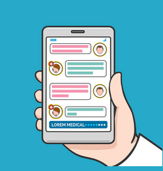 smartphone physician online consultation vector image