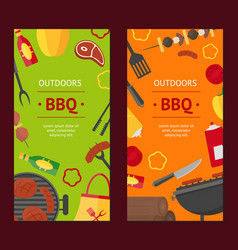 barbecue and grill banner vecrtical set vector image vector image