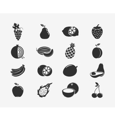 Fruit silhouettes icons vector image