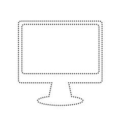 monitor with brush sign black dotted icon vector image