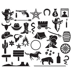 Wild west icon set vector image vector image