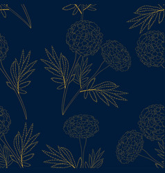 yellow marigold on indigo blue background vector image