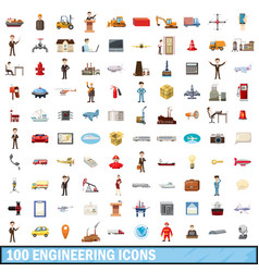 100 engineering icons set cartoon style vector image