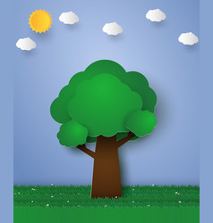 green tree paper art style vector image vector image