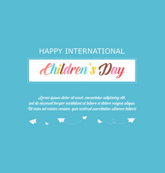 greeting card childrens day style vector image vector image