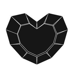heart-shaped gemstone icon in black style isolated vector image