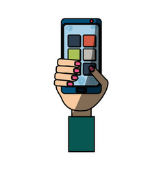 Isolated hand smartphone cellphone vector
