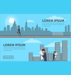 people walking in city with building on background vector image vector image