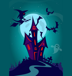 scary house on night background vector image vector image
