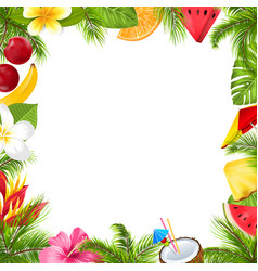 summer fruits poster with hibiscus frangipani vector image vector image