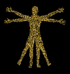 vitruvian man the concept of gold confetti based vector image