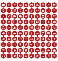 100 app icons hexagon red vector image