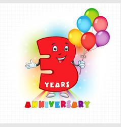 3 anniversary funny digits vector
